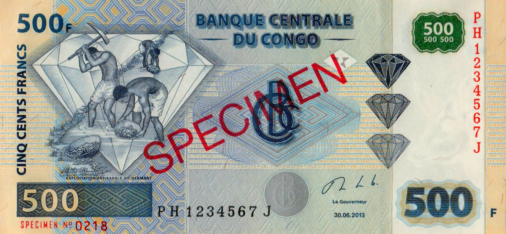 Congo 500 Francs p-96 2013 UNC Banknote D.R